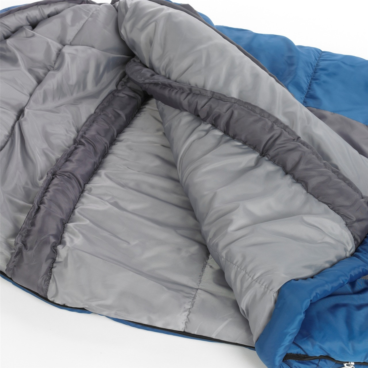 Close up view of the Wenzel Santa Fe Mummy 20 degree sleeping bag partially folded open showing the gray draft collar