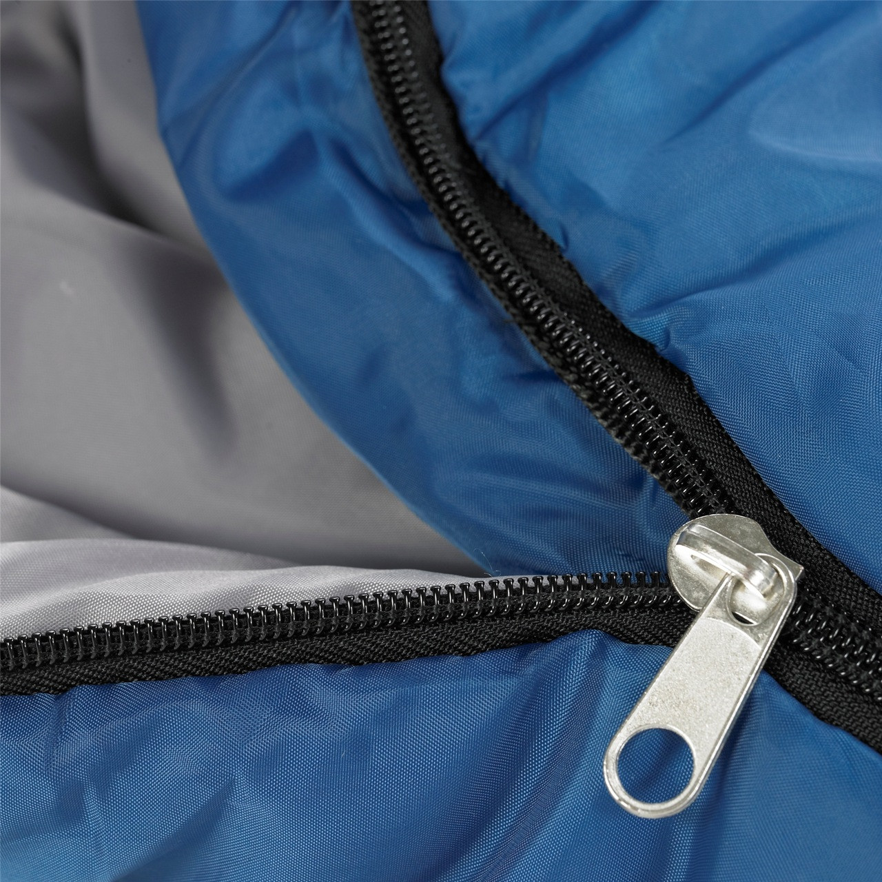 Close up view of the main zipper partially unzipped on the Wenzel Santa Fe Mummy 20 degree sleeping bag