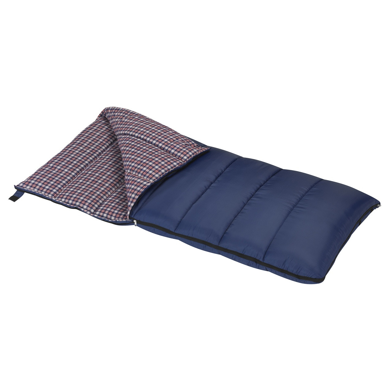 Wenzel Blue Jay 25 degree sleeping bag, blue, partially unzipped and folded over showing the blue and white plaid interior