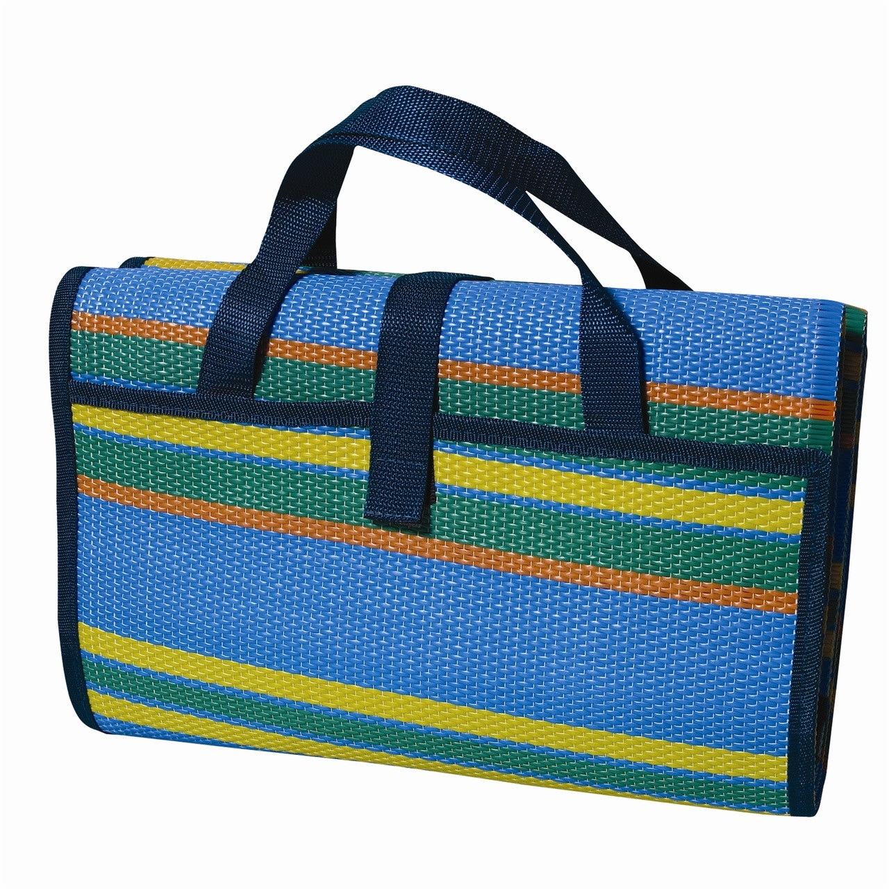 Wenzel Multi Mat, blue yellow green and orange striped, folded up with the carry handles extended