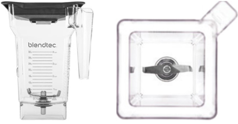 Blendtec FourSide Jar - Two views - Front Side and Top Down Inside