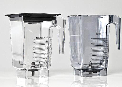 2011 Utah Federal Judge Penalizes Vitamix for Patent Infringement as Jury determines the Jar was too similar to Blendtec 5 Sided Jar Design. Picture shows Blendtec WildSide Jar and Vitamix similar version called the XP Jar.