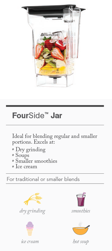 Overview of FourSide Jar best blending uses. Jar is also known as a Blendtec 4 Side Jar, Jug or Pitcher.