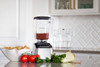 The 650 in stylish and cool Stainless Steel  - shown here making homemade blender recipe salsa with fresh tomatoes, jalapeno peppers, cilantro and onion along with a bowl of tortilla chips. Yum!