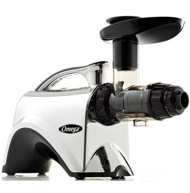 """Omega NC900HDC Best Price and Deal.  This is like the NC800 but with the upgraded body of chrome finish. SAVE over $100 off MRSP.  Free shipping in Canada only.  While supplies last.  Omega's Nutrition System -""""masticating-style"""" juice extractors.  Model: NC900 HDC - Premium Chrome Body Juicer  (Like to the NC800 HDS Silver Finish )"""