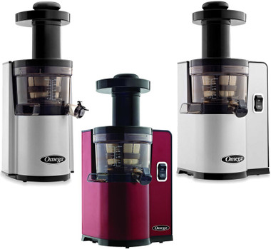 Get the Omega VSJ843QS (square in silver), the VSJ843RS (round in silver) and the VSJ843QR (square in red) Slow Vertical Single Auger Juicers. Free Shipping in Canada Only.