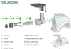 Want to do a slow cold press juice extraction of  fruit, vegetables, leafy greens like kale, spinach or wheatgrass? It is easy with your NC800 Low Speed, Masticating Juicer and Nutrition System! Here is an illustration of the Juice Extractor Set-Up. For more pictures, just refer to the User Guide (download via link in FAQ section below).