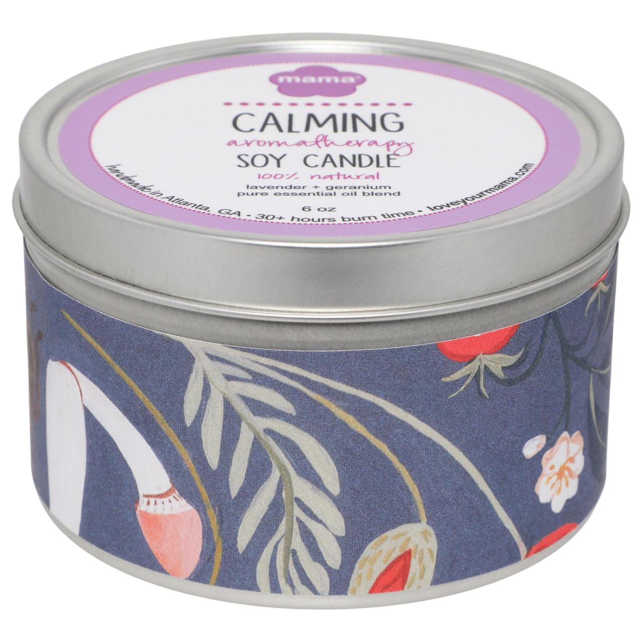 Lavender + Geranium (Calming) 6 oz. Soy Candle Tin | Mama Bath + Body