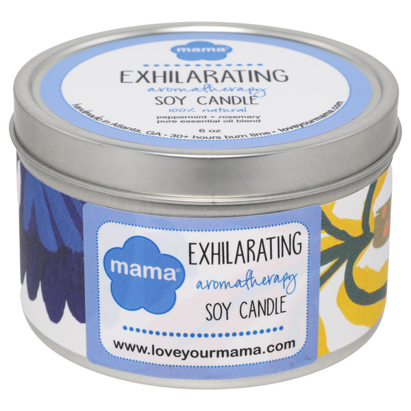 Exhilarating - Peppermint + Rosemary 6 oz soy candle in tin - 100% natural + hand-poured