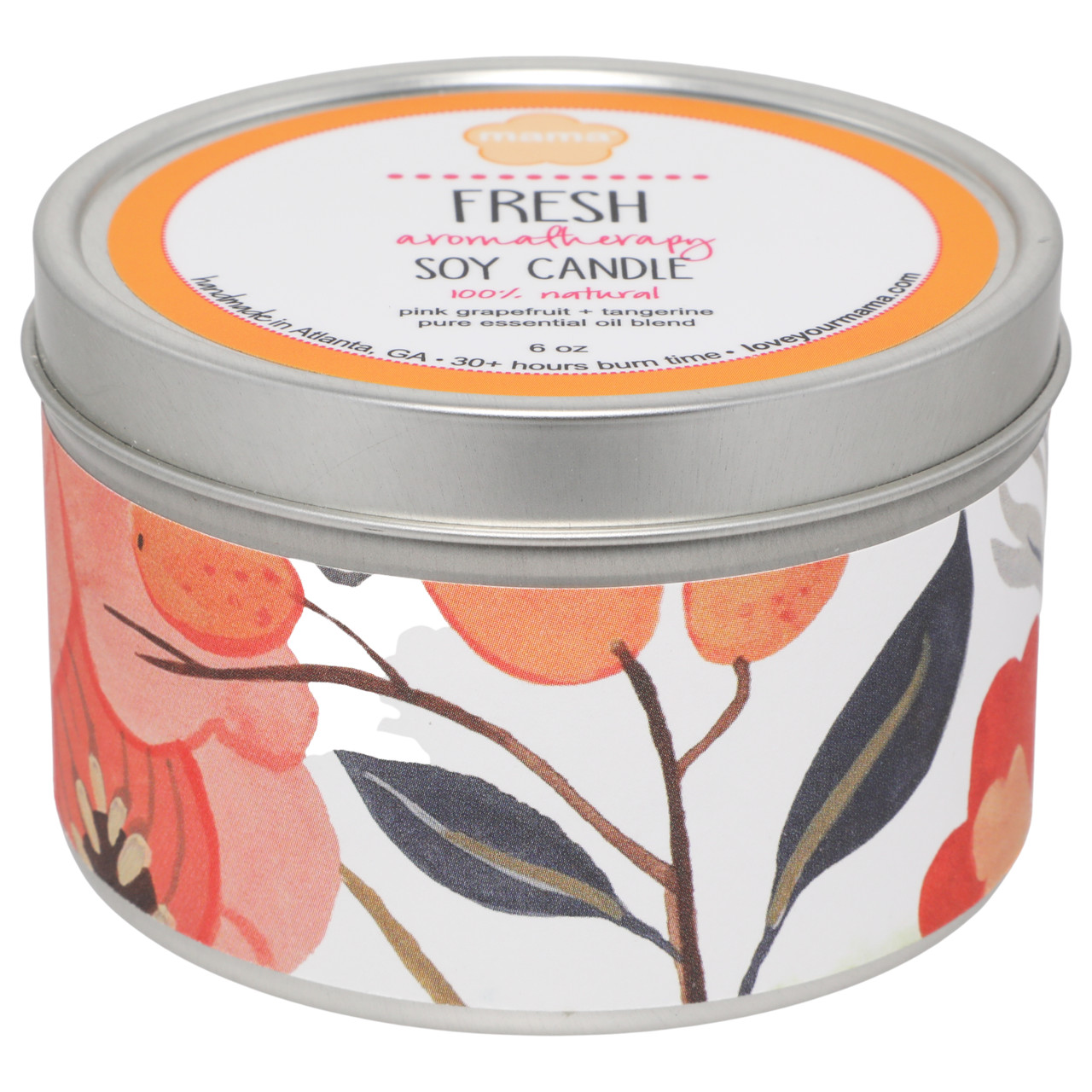 Fresh (Grapefruit + Tangerine) 6 oz. Soy Candle Tin | Mama Bath + Body