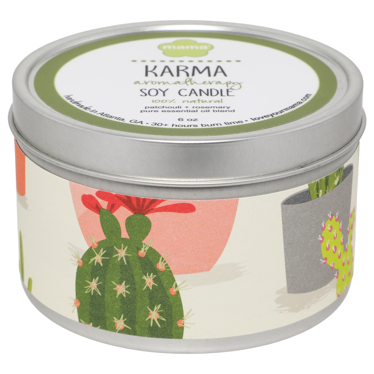 Karma (Patchouli + Rosemary) 6 oz. Soy Candle Tin   Mama Bath + Body