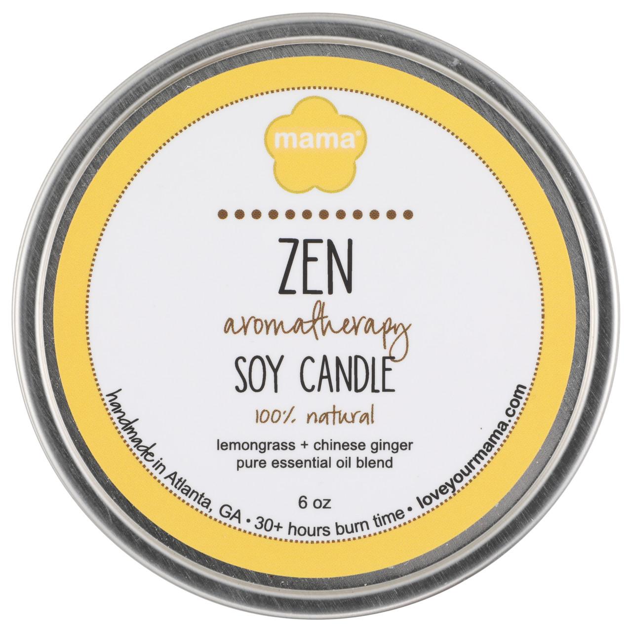 Lemongrass + Ginger (Zen) 6 oz. Soy Candle Tin | Mama Bath + Body