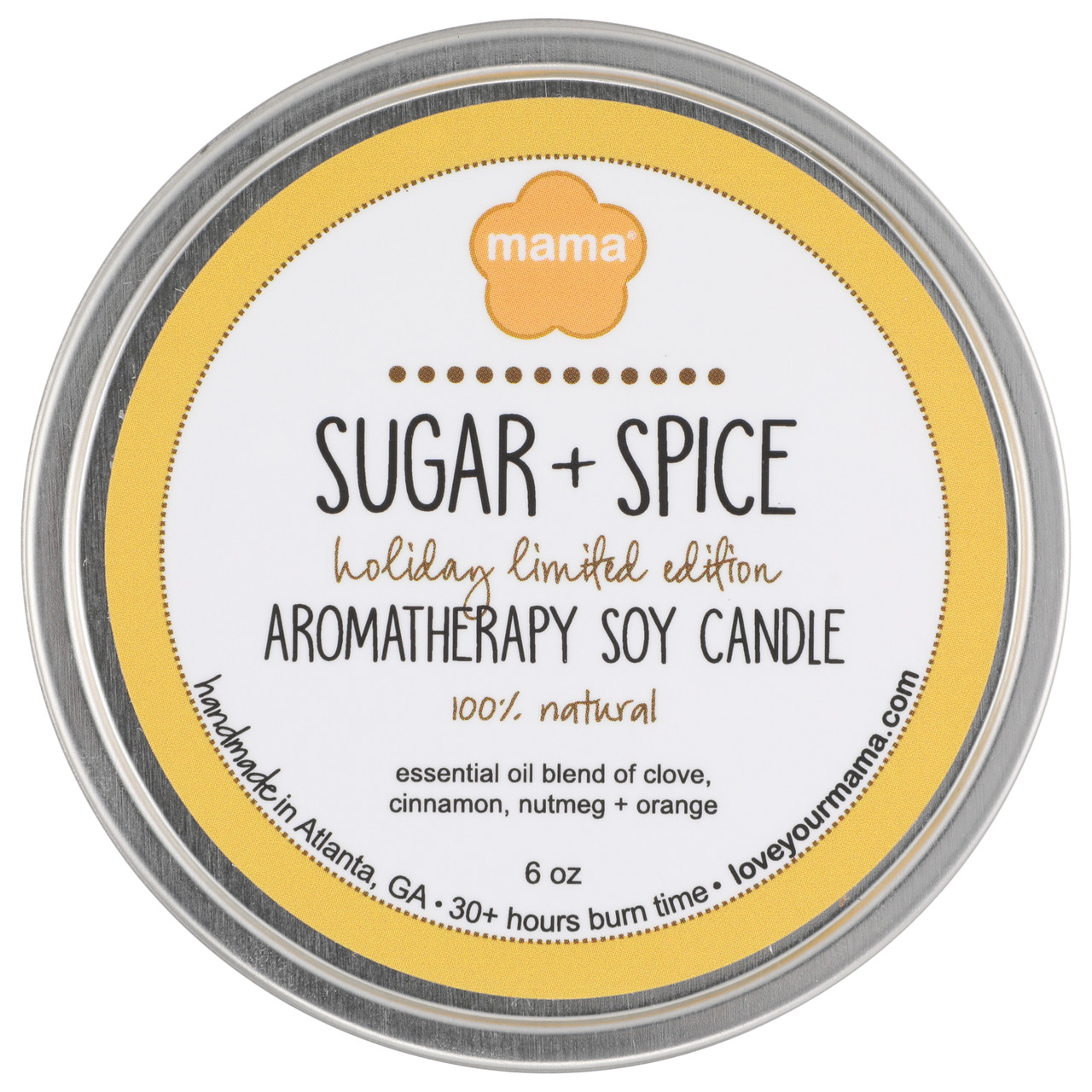Sugar + Spice 6 oz. Soy Candle Tin | Mama Bath + Body