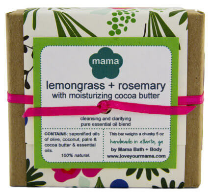 Lemongrass + Rosemary (Cocoa Butter Bar) Soap - Gift Wrapped | Mama Bath + Body