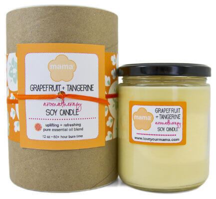Grapefruit + Tangerine (Fresh) 12 oz. Glass Soy Candle | Mama Bath + Body