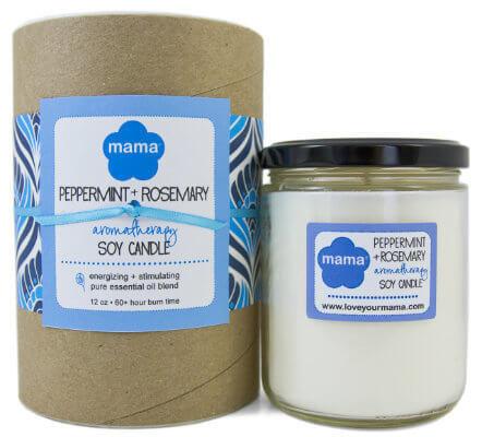 Peppermint + Rosemary (Exhilarating) Soy Candle - Glass Jar | Mama Bath + Body