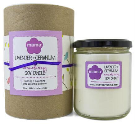 Lavender + Geranium (Calming) Soy Candle - Glass Jar | Mama Bath + Body