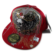 Skull wings hat with bling rhinestones