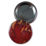 Flaming Heart Button/Magnet/Pocket Mirror