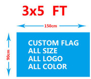 Custom Flag-Single Sided-3ft X 5ft-100D Polyester