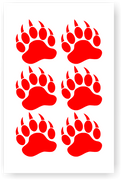 Bear Paw Decal Set of Six