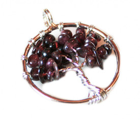 Small Tree of Life Pendant - Garnet