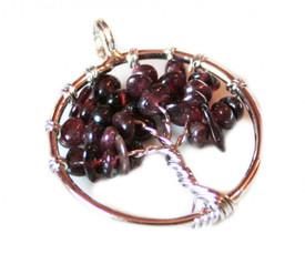 Small Tree of Life Pendant - Garnet