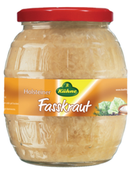 Kühne Gundelsheim German Barrel Sauerkraut (Holsteiner Fasskraut)  Glas Barrel Jar 850 ml - 810 g - 28.5 Oz