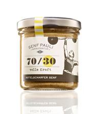 SenfPauli handmade manufacture mustard medium hot 70/30: medium hot German Mustard 155g - 5.4oz Glas Jar