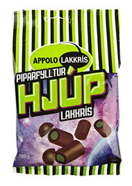 Iceland Hjup Green Piparfylltur Lakkris Licorice Rod filled with Licorice Cream 150g - 5.2Oz