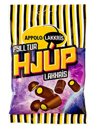 Iceland Hjup Yellow Fylltur Lakkris Licorice Rod filled with Confect - Sweet Cream covered in Chocolate 150g - 5.2Oz