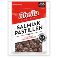 Rheila Salmiak Pastillen (Salty Licorice Bits) sugar free, 90g - 3.1oz resealable Bag