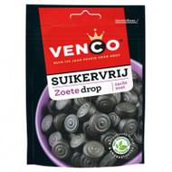 Venco Zoete dropSuikervrij, sweet sugar free Drop |Dutch Licorice| Licorice soft Buttons licorice stevia 100g - 3.5 oz Bag
