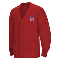 WLI Cardigan Sweater Red w/ Logo