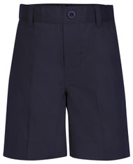 Navy short with faux-fly has full back-elastic waist, 5 belt loops, and side pockets. Poly/Cotton twill easy-care. Imported.
