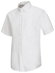 "60% Cotton 40% Polyester / High Count Oxford / Soil Release Finish Generous Fit Button Down Collar Pocket Topstitched Armholes Two Ply Yoke-Edgestitched Front & Back Center Back Pleat Short Sleeves: 1 1/4"" Fake Cuffs"