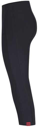 Flattering swimwear 3/4 length swim leggings in black side view - open water swimwear