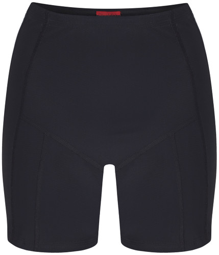 Womens black swim shorts with tummy control front view - ultra flattering swimwear