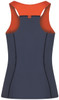 Racerback tankini top in dark grey with orange lining and tummy control back view - ultra flattering swimwear