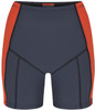 womens swim shorts in dark grey with orange strip front view - ultra flattering swimwear