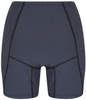 womens swim shorts in dark grey with orange strip back view - ultra flattering swimwear