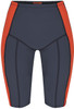 womens flattering swimwear - womens long swim shorts with tummy control in dark grey with orange stripe front view