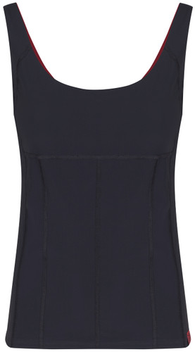 Black tankini top with scoop neck viewed from the front - ultra flattering swimwear