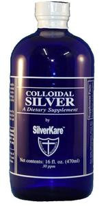 SilverKare's Colloidal Silver is a special blend of colloidal silver (30 PPM), micro particulates of the purest silver suspended in ultra pure proprietary-treated water. Packaged in a cobalt blue glass bottle.