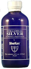 SilverKare's Colloidal Silver is a special blend of colloidal silver (30 PPM), micro particulates of the purest silver suspended in ultra pure proprietary-treated water.   The uses for this product are endless.  SilverKare's Colloidal Silver solution comes in a 4 ounce spray bottle; in 8 ounce and 16 ounce bottles (also in cases), as well as 1-gallon containers.