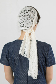 Off White Lace Head Scarf