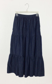 Ladies Three Tiered Skirt in Navy Denim