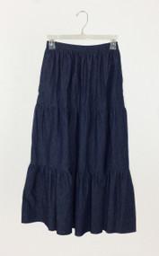 Ladies Three Tiered Skirt in Navy Denim