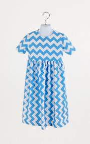 Girl's Chevron Summer Blue Dress