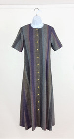 Ladies Gray Striped Dress